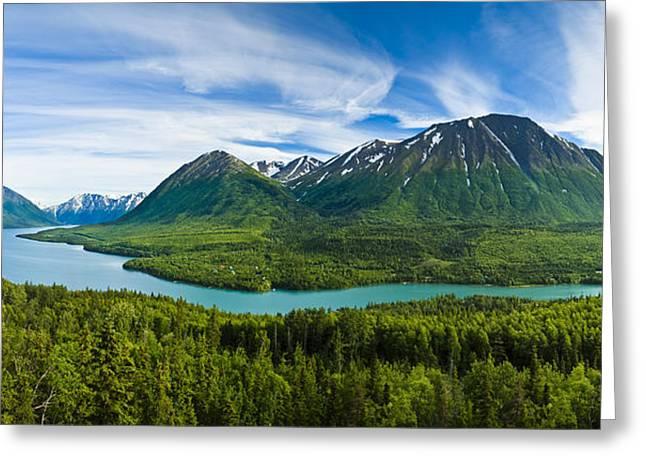 Kenai Lake Greeting Cards - Scenic View Of Kenai Lake And River Greeting Card by Michael DeYoung