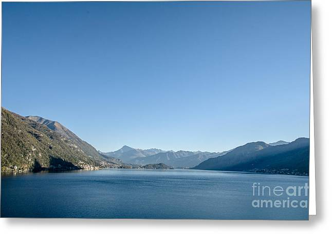 Charming Vistas Greeting Cards - Scenic view of mountains around Lake Como Italy Greeting Card by Peter Noyce