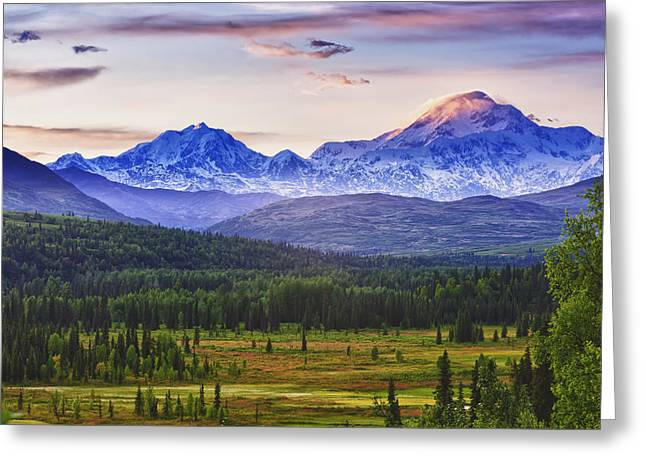 Hdr Landscape Greeting Cards - Scenic View Of Mt. Mckinley And Mt Greeting Card by Michael DeYoung