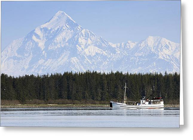 Schooner Greeting Cards - Scenic View Of The St. Elias Range With Greeting Card by Don Pitcher