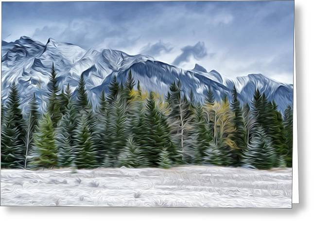 Park Scene Paintings Greeting Cards - Scenic winter mountain views Greeting Card by Lanjee Chee