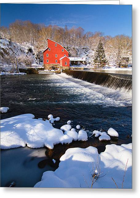 Red Mill Historic Village Greeting Cards - Scenic Winter View of a Waterfall and a Red Mill Greeting Card by George Oze