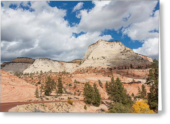 Scenic Drive Greeting Cards - Scenic Zion Drive Greeting Card by John Bailey