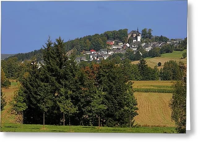 Scenics Greeting Cards - Schauenstein - A typical Upper-Franconian town Greeting Card by Christine Till
