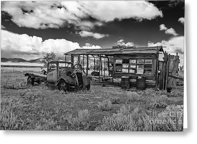 Haybales Greeting Cards - Schellbourne Station And Old Truck Greeting Card by Robert Bales