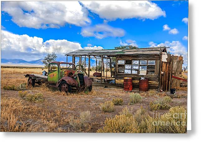 Haybales Greeting Cards - Schellbourne Station And Vintage Truck Greeting Card by Robert Bales