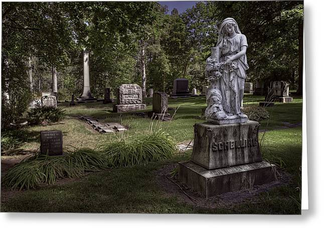 Schelling Family Grave Statue - Greenwood Cemetery Greeting Card by Daniel Hagerman