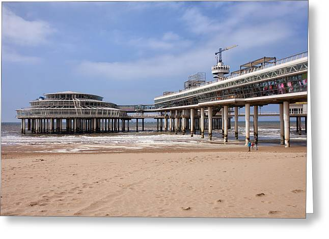 Scheveningen Greeting Cards - Scheveningen Beach and Pier in Hague Greeting Card by Artur Bogacki