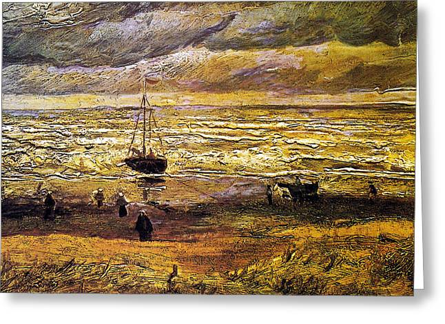 Scheveningen Greeting Cards - Scheveningen Beach in Stormy Weather Greeting Card by Vincent Van Gogh