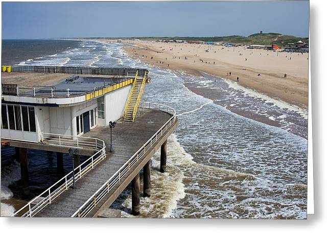 Scheveningen Greeting Cards - Scheveningen Pier and Beach in Den Haag Greeting Card by Artur Bogacki