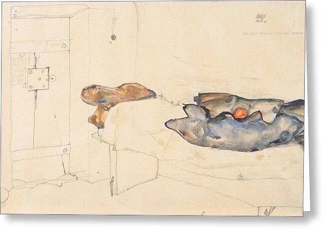 Schiele Drawings Greeting Cards - Schieles drawing of his prison cell in Neulengbach Greeting Card by Egon Schiele