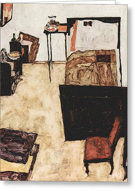 Neo Expressionist Greeting Cards - Schieles Room in Neulengbach Greeting Card by Egon Schiele