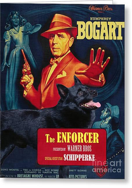 Enforcer Greeting Cards - Schipperke Art Canvas Print - The Enforcer Movie Poster Greeting Card by Sandra Sij