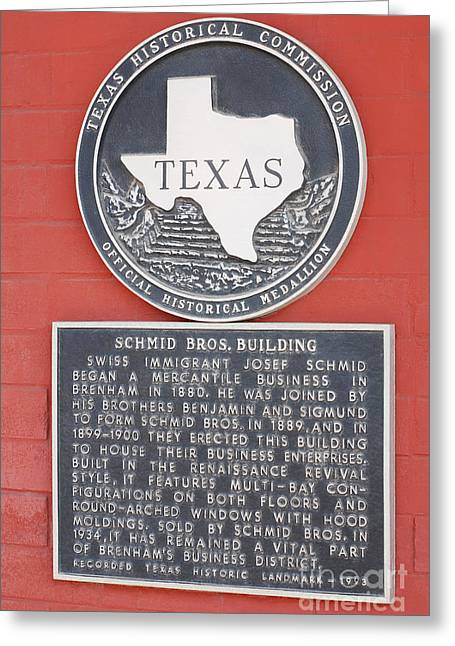 Schmid Brothers Building Historical Marker Greeting Card by Connie Fox