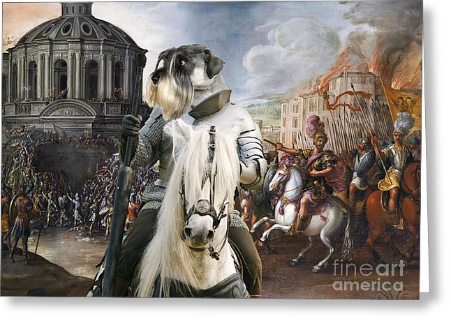 Schnauzer Art Greeting Cards - Schnauzer Art - A siege the Sack of Rome   Greeting Card by Sandra Sij