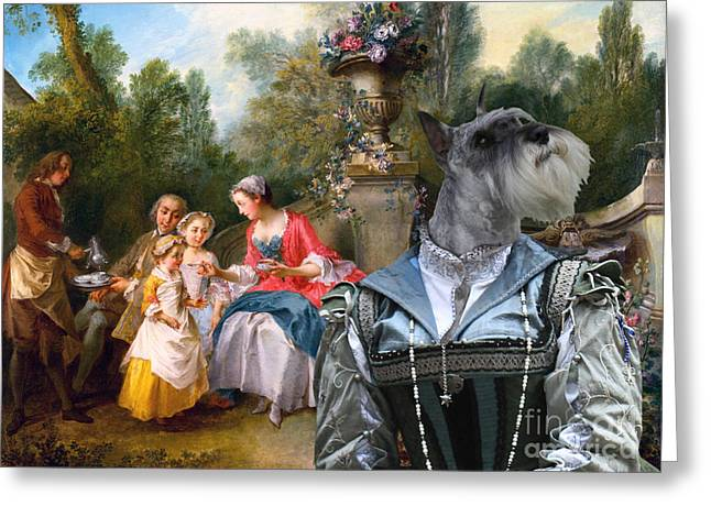 Schnauzer Art Greeting Cards - Schnauzer Art -  Ladies and Gentleman with two Girls and a Servant Greeting Card by Sandra Sij