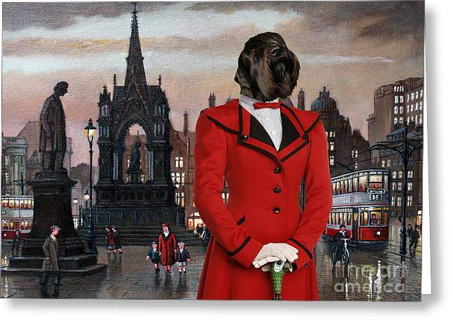 Schnauzer Art Greeting Cards - Schnauzer Art - Square Manchester   Greeting Card by Sandra Sij