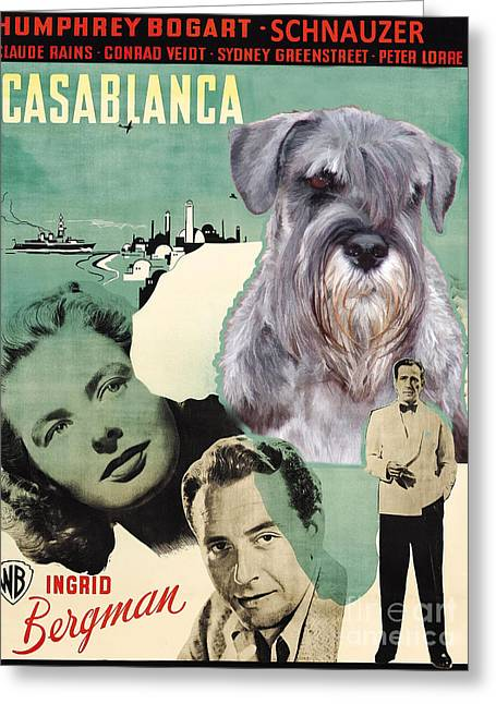 Schnauzer Art Greeting Cards - Schnauzer Art Canvas Print - Casablanca Movie Poster Greeting Card by Sandra Sij