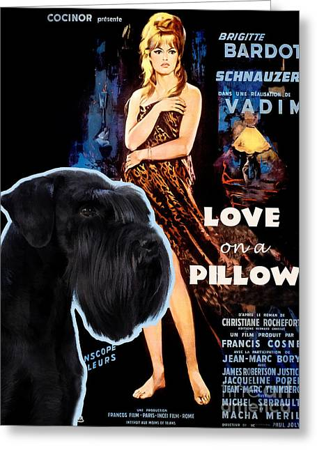 Lovers Art On Print Greeting Cards - Schnauzer Art Canvas Print - Love on a Pillow Movie Poster Greeting Card by Sandra Sij