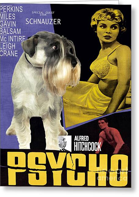 Schnauzer Art Greeting Cards - Schnauzer Art Canvas Print - Psycho Movie Poster Greeting Card by Sandra Sij