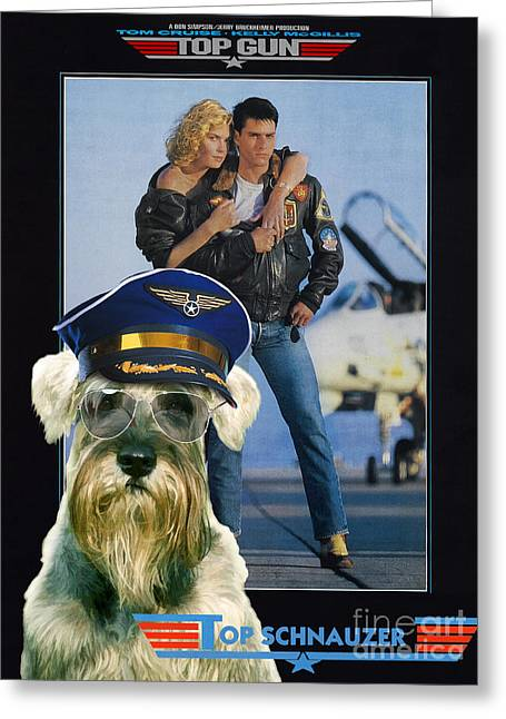 Schnauzer Art Greeting Cards - Schnauzer Art Canvas Print - Top Gun Movie Poster Greeting Card by Sandra Sij