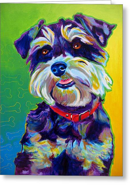Alicia Vannoy Call Paintings Greeting Cards - Schnauzer - Charly Greeting Card by Alicia VanNoy Call