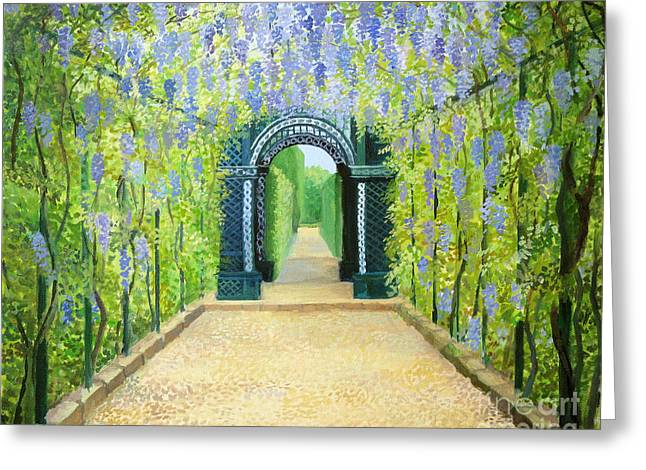 Trellis Paintings Greeting Cards - Schoenbrunn in Vienna The Palace Gardens Greeting Card by Kiril Stanchev
