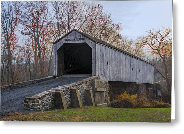 Covered Bridge Greeting Cards - Schofield Ford Covered Bridge - Tyler State Park Greeting Card by Bill Cannon