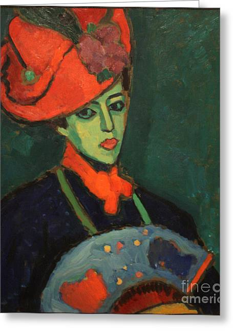 Strength Paintings Greeting Cards - Schokko with Red Hat Greeting Card by Celestial Images