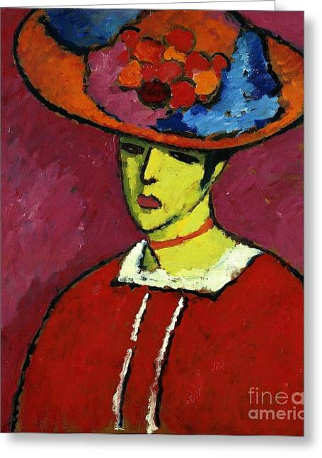 Orthodox Paintings Greeting Cards - Schokko with Wide Brimmed Hat Greeting Card by Alexej Von Jawlensky