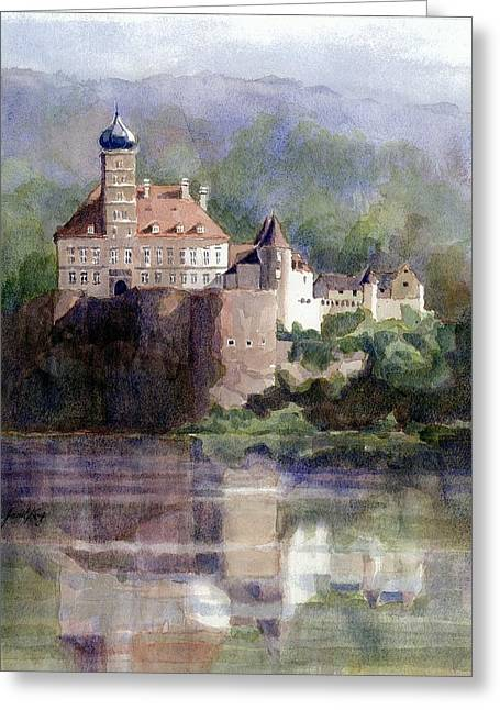 Janet King Paintings Greeting Cards - Schonbuhel Castle in Austria Greeting Card by Janet King