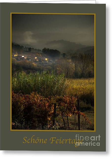 Tuscan Valley Greeting Cards - Schone Feiertage with Foggy Tuscan Valley Greeting Card by Prints of Italy