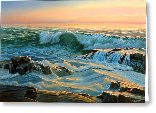 Maine Seascapes Greeting Cards - Schoodic Point before Sunrise  Greeting Card by Paul Krapf