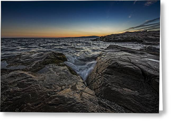 Puddle Greeting Cards - Schoodic Point Greeting Card by Rick Berk