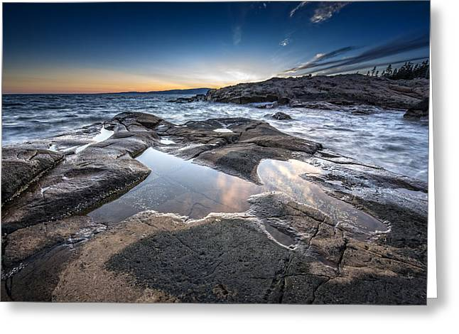 Puddle Greeting Cards - Schoodic Reflections Greeting Card by Rick Berk