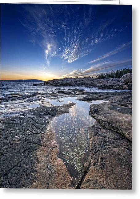 Puddle Greeting Cards - Schoodic Sunset Greeting Card by Rick Berk