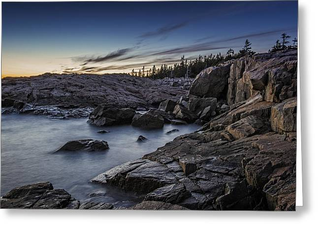 Puddle Greeting Cards - Schoodic Twilight Greeting Card by Rick Berk