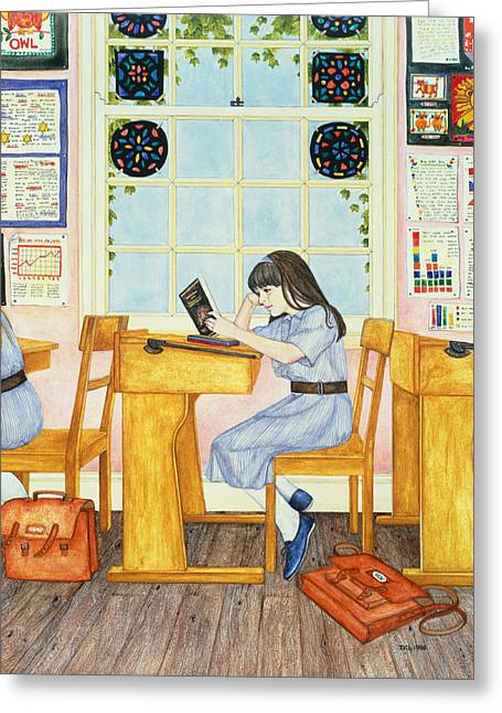 Desks Greeting Cards - School, 1986 Greeting Card by Ditz