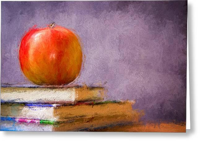 Apple Art Mixed Media Greeting Cards - School Apple Greeting Card by Georgiana Romanovna