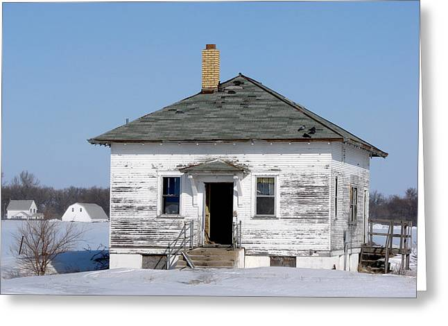 Abandoned School House. Greeting Cards - School At Winter Greeting Card by ML Boe