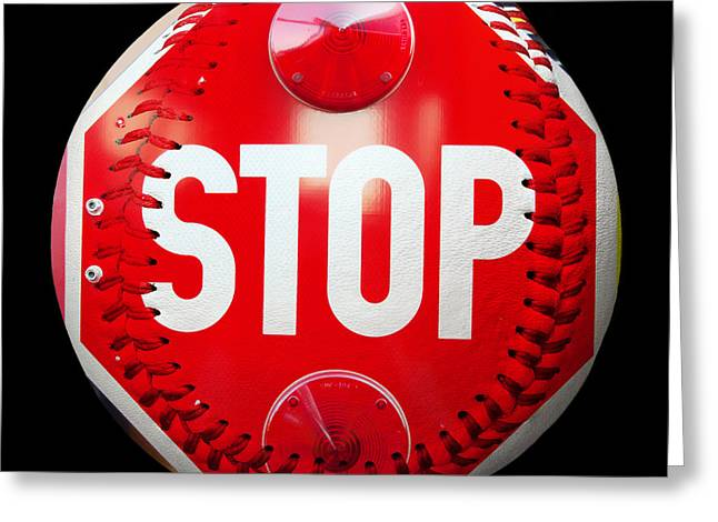 Take-out Mixed Media Greeting Cards - School Bus Stop Sign Baseball Square Greeting Card by Andee Design