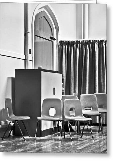 Anticipation Photographs Greeting Cards - School chairs Greeting Card by Tom Gowanlock