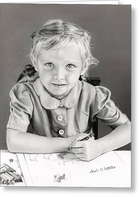 Photo Realism Drawings Greeting Cards - School Days 1948 Greeting Card by Sarah Batalka