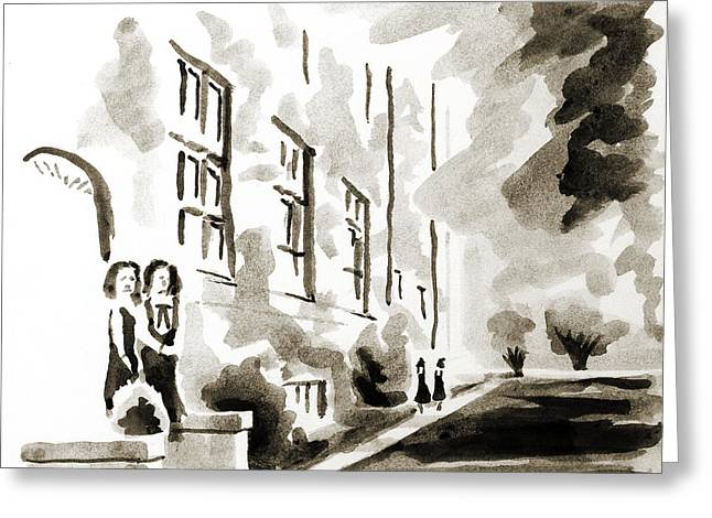 College Drawings Greeting Cards - School Days at Ursuline II Greeting Card by Kip DeVore