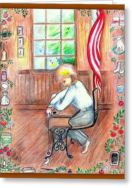 One Room School Houses Drawings Greeting Cards - School Days Greeting Card by Barbara LeMaster
