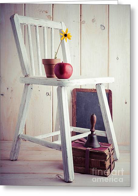 Red School House Photographs Greeting Cards - School Days Greeting Card by Edward Fielding