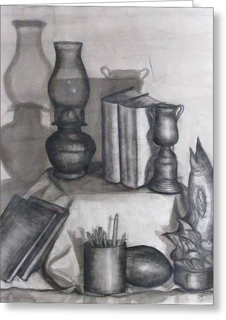 Oil Lamp Drawings Greeting Cards - School Days Greeting Card by Valerie Summers