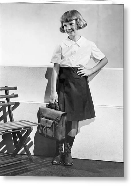 School Fashion Girl Greeting Card by Frederick Bradley