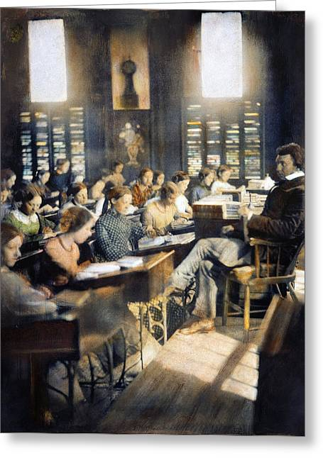 Schoolgirl Greeting Cards - SCHOOL FOR GIRLS, c1850 Greeting Card by Granger