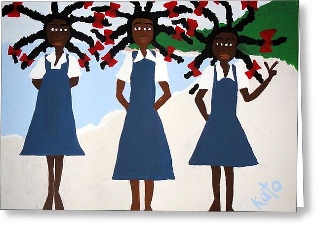 Recently Sold -  - Watermelon Greeting Cards - School Girl Blue Greeting Card by Kato Charles